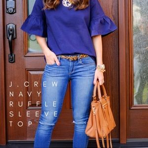 J. Crew Solid Navy Ruffle Sleeve Top